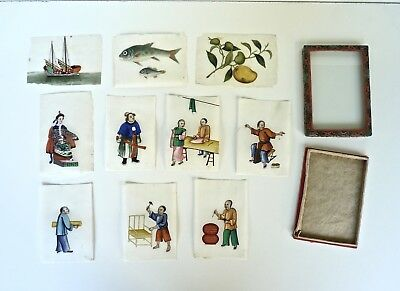 10 Antique Chinese Wing Tai Hing Pith Rice Paper Miniature Watercolours & Box
