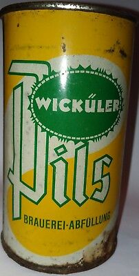 Wickuler Pill flat top empty beer can from Germany