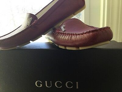 Gucci! Rusty-red leather Cellarius driving moccasins with rubber soles-size 6.5.