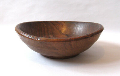 """SIGNED GEORGE LAILEY OF BUCKLEBURY 9"""" TURNED ELM WOODEN BOWL DATED DEC 24th 1933"""