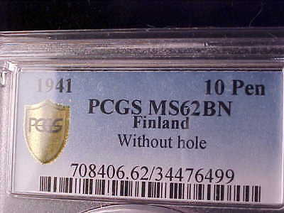 Finland 10 Pennia 1941 Without Hole (Rare) Pcgs Ms 62 Bn