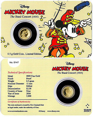 2016 Niue 0.5 g Proof Gold Disney Mickey Mouse Band Concert In $2.5 OGP SKU42048