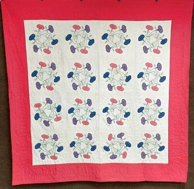 Cottage Vintage Morning Glory WREATH Applique Quilt Pink 85 x 84