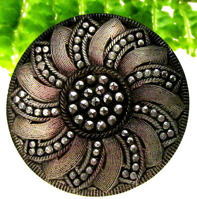 Stunning Antique True Lacy Glass Button Silver Pinwheel W/ Pink Hues G96