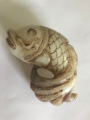 Carved Chinese stone Fish, Vintage, at least 30 years old. Unknown stone