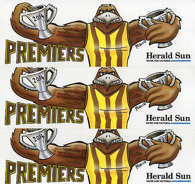 3 Hawthorn back-to-back Bumper Stickers - 2013 - 2014 & Poster 2013-2014-2015