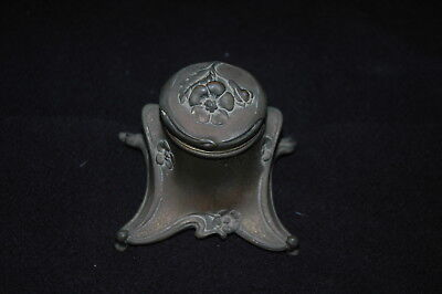 Antique Vintage Brass Footed Inkwell & Milk Glass Insert Art Nouveau Deco Signed