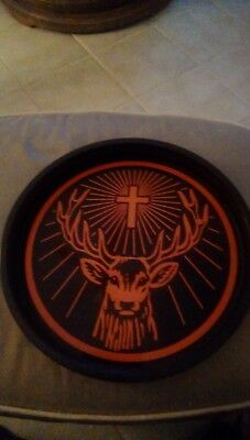 "Jagermeister Plastic Serving Tray Black/Orange 13 1/2"" Diameter New"