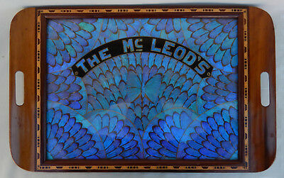 Vintage Morpho Butterfly Wing Tray W/Wooden Inlay Trim * THE Mc LEOD'S