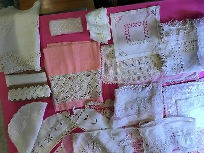 Lot of antique lace, eyelet, embroidery, fabric, crochet, trims