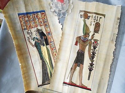 Egyptian Art In Genuine Papyrus Painted And Signed By Hand. Ancient Art.