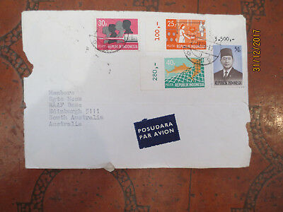 N0  1--1970       Indonesia       Air  Mail   Letter  Front  4  Stamps
