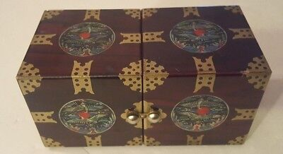 Vintage Lacquered Inlaid Jewelry Box Japan 4 Drawer Hinged