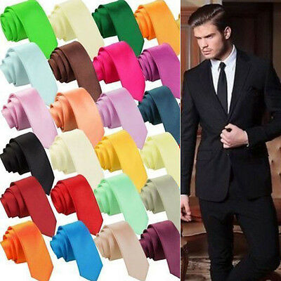 Men's Necktie Skinny Solid Jacquard Tie Classic Silk Plain Slim Woven Color