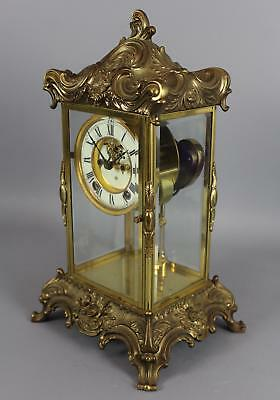 Antique ANSONIA Gilded Bronzed Crystal Regulator Clock w/ Open Escapement Face