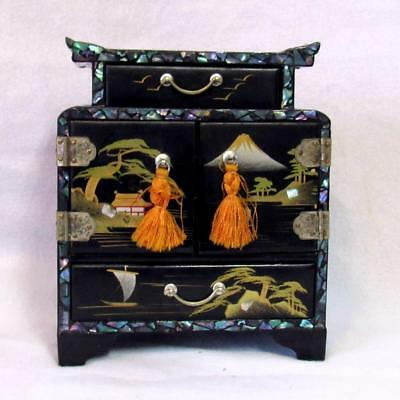 "Small Vtg 7"" Black Lacquer Asian Jewelry Chest W/ Mother Of Pearl Inlay"