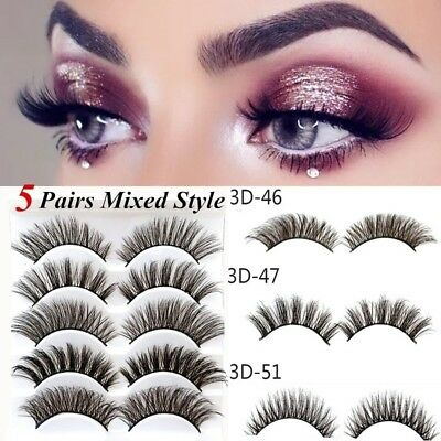 5 Pairs Mixed Styles Mink Soft Long Natural Thick Eye Lashes False Eyelashes