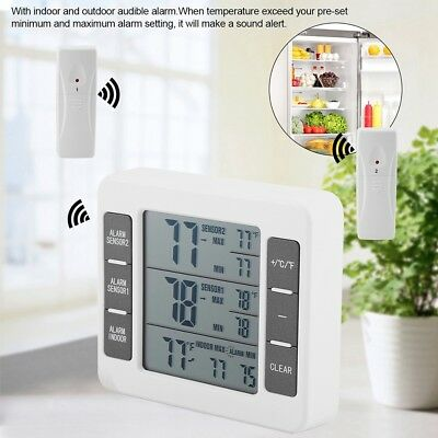 Wireless Digital Thermometer Audible Alarm For Refrigerator Fridge w/ 2 Sensors