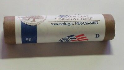 """2009-D United States Lincoln Cent """"Formative Years"""" Roll 50Coins LP 2 Mint Roll"""