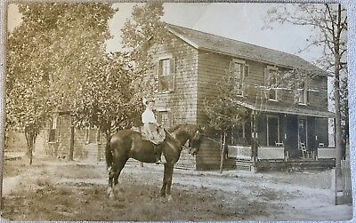 1910 Real Photo RPPC Postcard Woman on horseback RIDER HORSE w/ Background HOUSE
