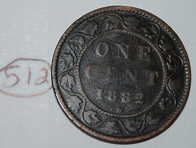 Canada 1882 H 1 Large cent Canadian one Victoria Penny coin Lot #512