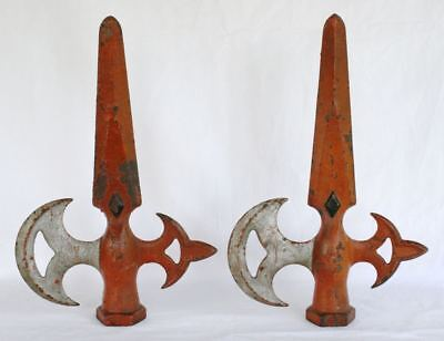 Pair of Large Antique Cast Iron Halberd Fence Top Finials. Original Paint RARE