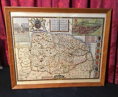 Vintage Antique Map Of Northfolke England By C. Saxton