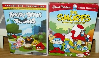 THE SMURFS TV SHOW & ANGRY BIRDS TOONS Season One Volume One DVD Sets Christmas