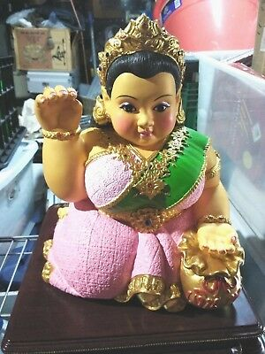 Thai Amulet Statue Lady White Nang Kwak Wealth Fortune Luck Large Size Limited