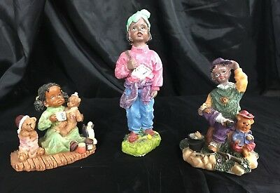 African American Black Figurines Set Of 3