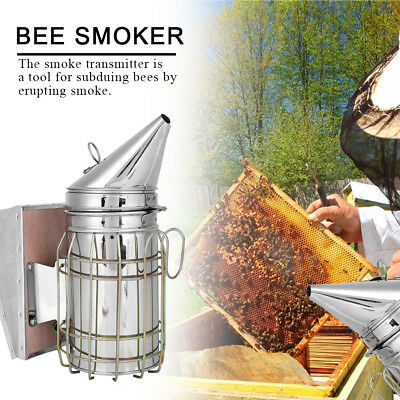 NEW Stainless Steel Bee Smoker Large Beekeeping Tool Equipment With Hanging Hook
