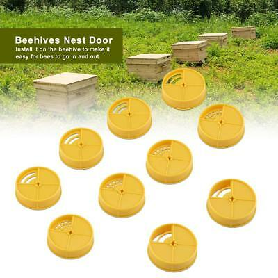 10PCS Bee Hive Box Entrance Disk Round Beehives Nest Door Beekeeping Tool Yellow