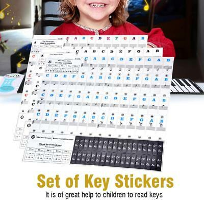 Pro 37/49/61/88 Keys Piano Stickers Keyboard Note Labels Removable for Beginners