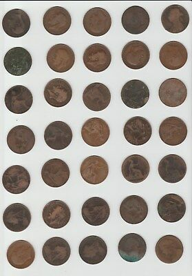 Lot Of Circulated Old 35 X One Uk Pennies