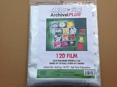Clear File Negative Storage Pages For 120 Film. Qty25
