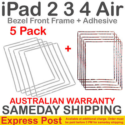 5X iPad 2 3 4 Plastic Frame Bezel Glass Touch Screen Digitizer White + Adhesive