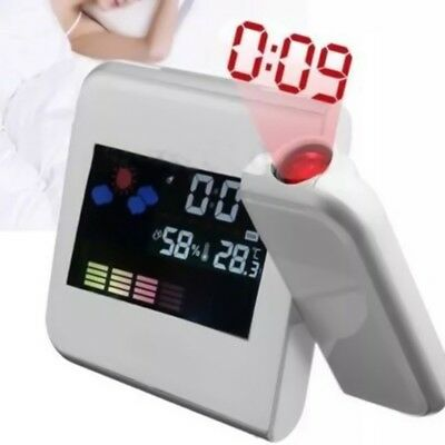 Projection Digital Weather LCD Snooze Alarm Clock Color Display LED Back light