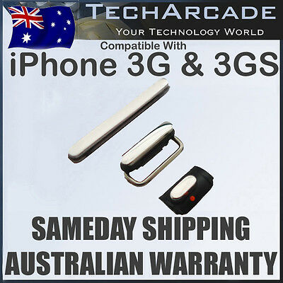 iPhone 3G 3GS Mute Silent Vibrate Volume Power On Off Button Set Black OEM