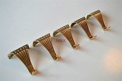 Set of 5 solid brass antique style stars & stripes picture rail hooks hook PRH3