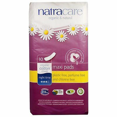 Natracare  Maxi Pads  Night Time  10 Pads