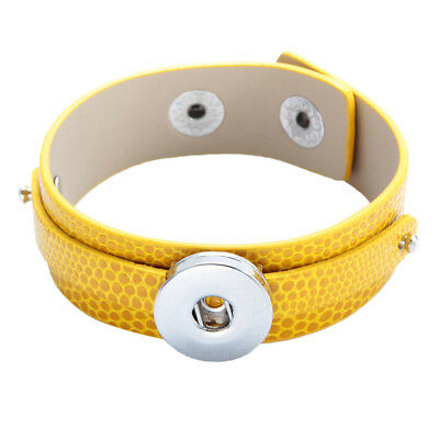 Yellow Leather Snap Button Bracelet Bangle fit 18MM Snap Noosa Jewelry Charm