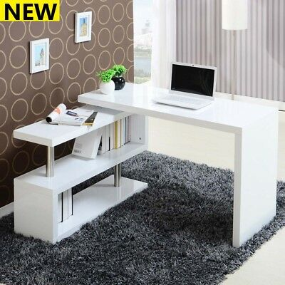 S-Shaped Corner Computer Desk Compact Laptop Table Home Office Study Corner Desk