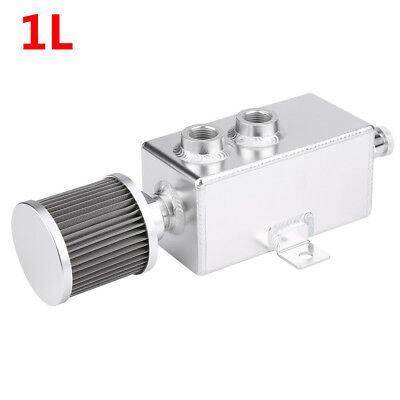 1L Cylinder Aluminum Engine Oil Catch Reservoir Breather Tank W/ Filter Silver