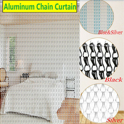 UK Silver+Blue Aluminium Metal Fly Screen Chain Door Insect Curtain Pest Control