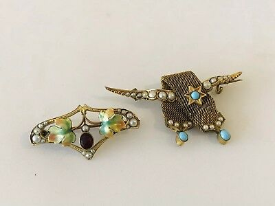 Fine Pair Of Art Nouveau Rolled Gold Turquoise And Seedpearl Enamel Brooches