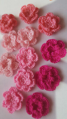 12pcs - Shade of Pink 2.5cm Double Layer Crochet Flowers