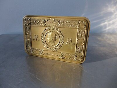 Messing-Zigarettendose Queen Mary Medal CHRISTMAS 1914 Art Nouveau cigarette tin