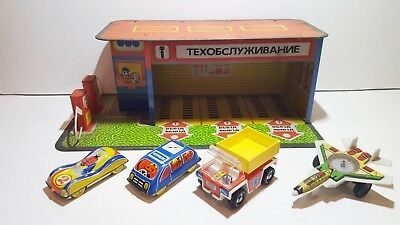 Vintage USSR CCCP Soviet 1970's Tinplate garage with set of 4 tinplate vehicles