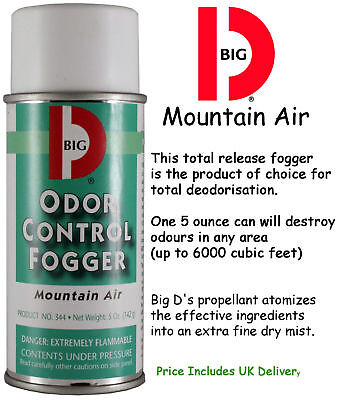 4 X Big D Mountain Air Odour Control Eliminator Fogger Bomb 5oz Deodoriser