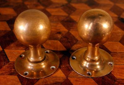 Pair (2) Reclaimed Vintage Antique Brass Door Knobs Handles By Edwin Showell #1